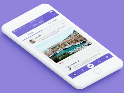 Social Network Activity Feed Concept iOS social networking material design user experience user interface apple ios android app mobile design ui ux
