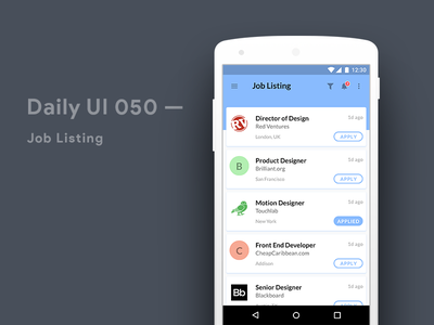 Job Posting Material Design Concept Android material design user experience user interface listing job android app mobile design ui ux