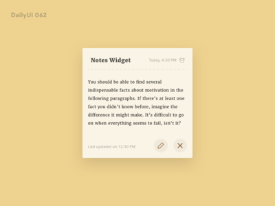 Daily UI 065 - Notes Widget daily ui user experience user interface concept widget notes design ui ux