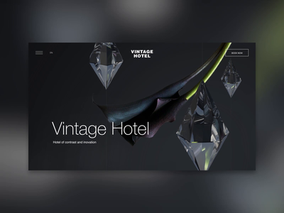 Vintage Hotel crystals flower contrast interaction 3d concept desktop animation motion ui