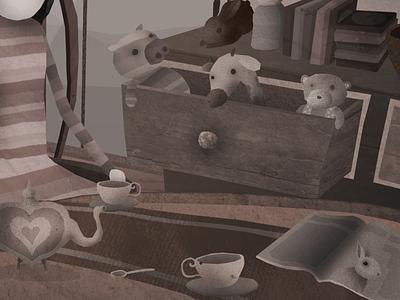 Tea Table cuddly teddy bear illustration cozy coffee house tea table