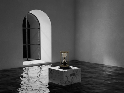 Timeline x 01 minimalist shadow light water hourglass time black and white photoshop cinema4d c4d redshift render 3d artwork 3d
