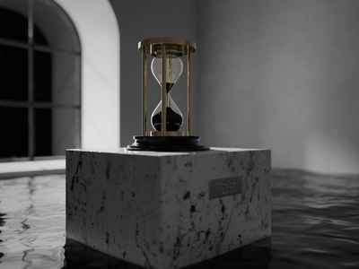 Timeline x 02 water time render redshift photoshop minimalist shadow light hourglass cinema4d c4d black and white 3d artwork 3d