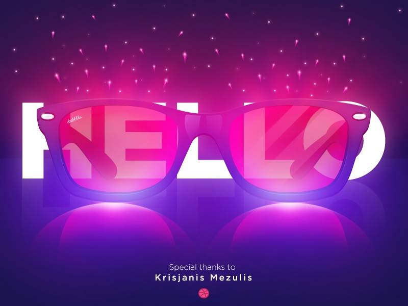 Hello Dribbble ! photoshop glasses lights dribbble debut first hello