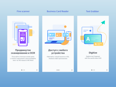 Onboarding pictures for three different Apps in one style