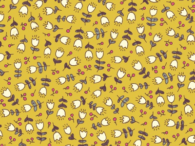 Yellow floral pattern blossom blooming seamless floral tulip nature pattern yellow berry flower