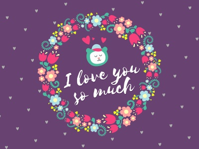 Hearts, flowers and bear selima wreath card cute purple love heart bear flower