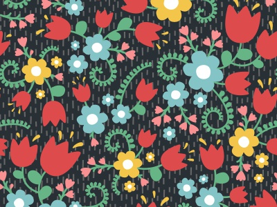 Floral pattern ornament bloom blossom summer black nature seamless pattern flat floral flowers
