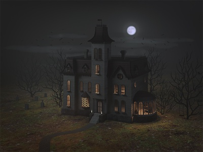 Addams Family House 3dillustration render moon lowpoly illustration house digital illustration digitalart digital creepy building blender3d blender b3d addams family 3dmodeling 3dmodel 3d
