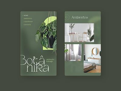 Botanika - Concept mobile site design (Home e Projetos) ui design responsive web design design mobile website ux web ui