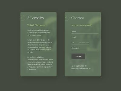 Botanika - Concept mobile site design (Sobre e Contato) web design responsive web ui design mobile website design ux ui