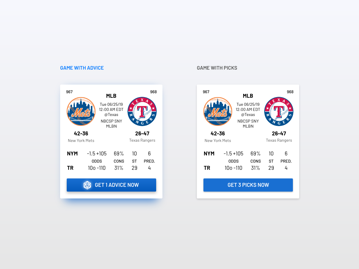 Game With Advice or Picks advice match game design mlb sports game