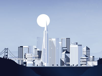 SF cityscape ui ux california poster moon bridge city skyline building sf