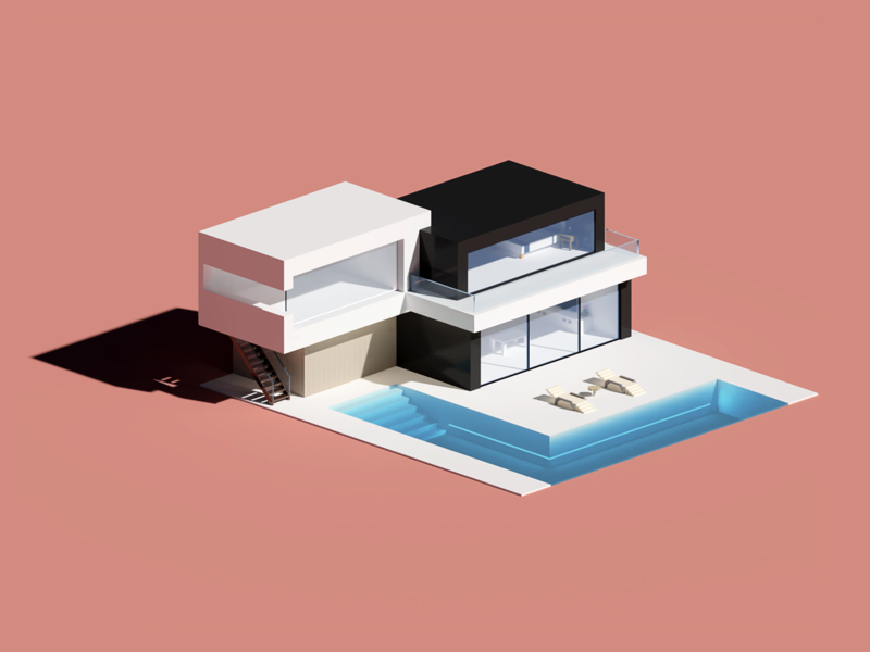 Modern House first shot hellodribbble 3d house isometric architecture voxel voxel art magicavoxel
