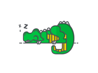 Sleepy Dino Illustration