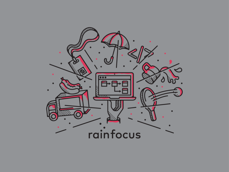 T-shirt Illustration event food truck company culture laptop rainfocus shirt tshirt illustration company swag offsite