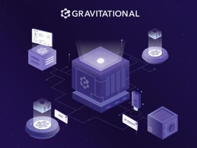 Gravitational illustration design branding art abstract perspective isometric cosmos purple application developers id air-gapped aws tech teleport gravity gravitational