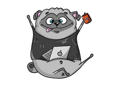 Pugs also coding coding illustration coke laptop apple dog pug