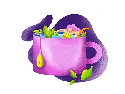 More tea, please milk coffee cupoftea orange mint pink illustration girls taste characterdesign relax sunday tea