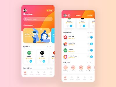 Echo - Rewards App offer coupon redeem points ux design ui design uiux user experience appdesign userinterface product design app uxdesign uidesign design ux ui