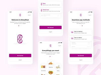 Breadfast - Onboarding Revamping pay food delivery groceries interaction design ux design ui design uiux revamp user experience appdesign userinterface product design app uxdesign uidesign design ux ui