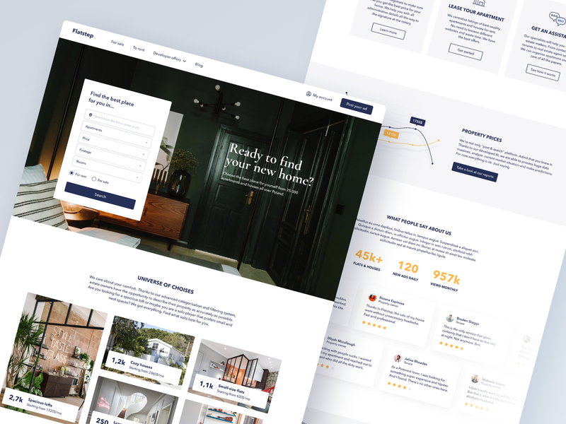 Flatstep – Main Page website apartment figma real estate property ux web typography interface ui design