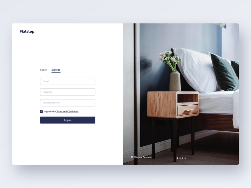 Flatstep – Registration Form minimalism figma sign in clean layout interior photography real estate registration form sign up ux web typography interface flat ui design