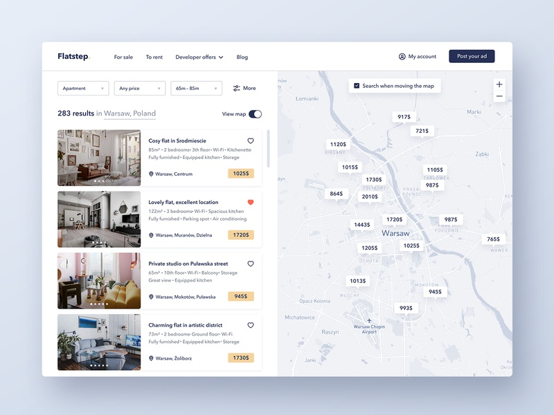 Flatstep – Search Results clean interfaces real estate map interior filters dashboard apartment ux web typography interface flat ui design
