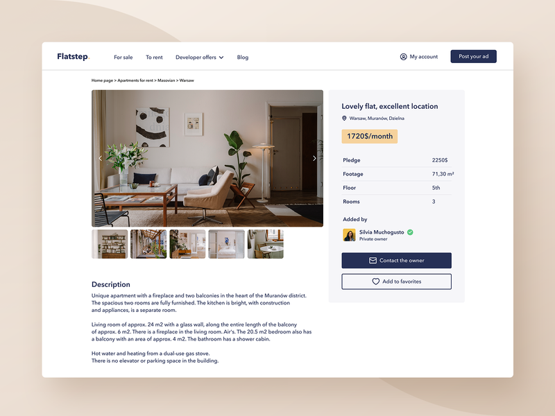 Flatstep – Ad View (viewport) figma clean ad property minimalism interface design real estate interior ux web typography interface flat ui design