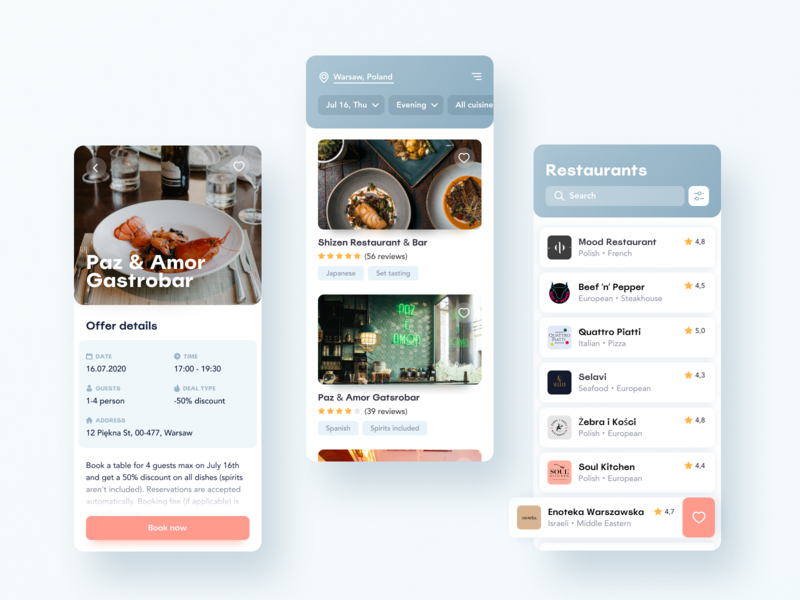 Restaurant Booking App concept typogaphy app typography interface design