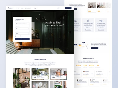 Flatstep main page webapp minimalist real estate website figma ux web typography interface ui