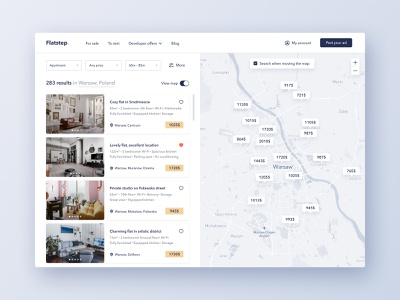 Flatstep search results search figma flat website webapp real estate map ux web interface ui
