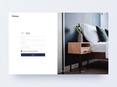 Flatstep Login Screen minimalist carousel registration form login real estate ux interface ui