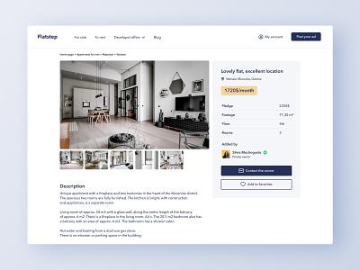 Flatstep Apartment Overview minimalist website webapp figma real estate ux web interface ui
