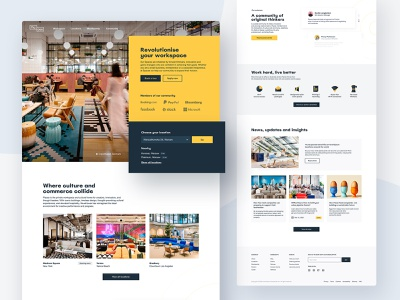 Places main page icons website cowork graphic design web ux interface ui design