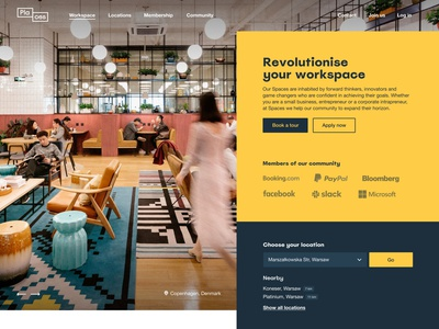 Places main page icons website cowork graphic design web ux interface ui design