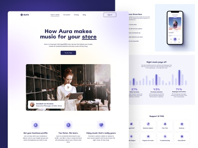 Aura Website – How it works page minimalist landing page 3d icons website web ux interface ui