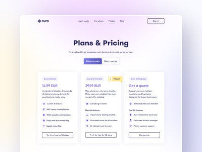 Aura Website – Pricing Page 3d icons minimalist landing page music icons pricing page pricing gradient website typography web ux interface ui design