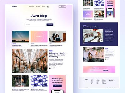 Aura Website – Blog graphic design ux design ui gradient music web interface blog minimalist website