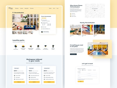 Places – Coworking Location contact map design interface ux ui minimalist coworking pricing icons website