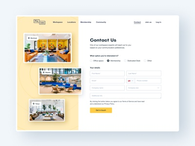 Places – Contact Us graphic design web ux interface ui design minimalist coworking form contact website