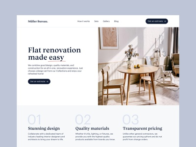 Müller Bureau – Style Exploration interior real estate minimalist website typography web ux interface ui design