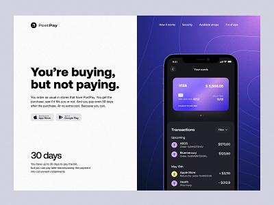 PostPay – Hero Section splitscreen finance product design payment hero minimalist typography graphic design web ux ui app design interface fintech