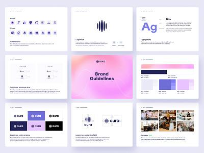 Aura – Brand Guidelines icons music app logotype brand guidelines brand manual brand identity branding logo typography graphic design design
