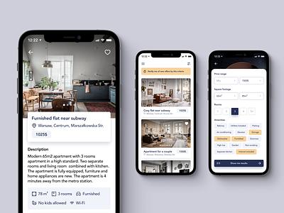 Flatstep – Mobile App minimalist apartment real estate mobile app mobile ux interface ui design