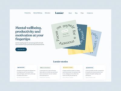 Lumier – a coaching app landing website concept hero mental health branding typography graphic design web ux interface ui design