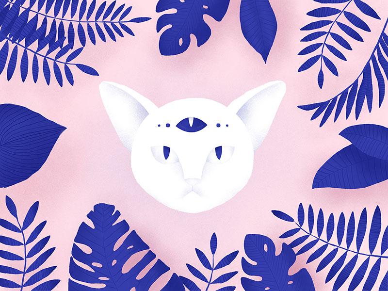Hypnocat tropical cat art flat illustration