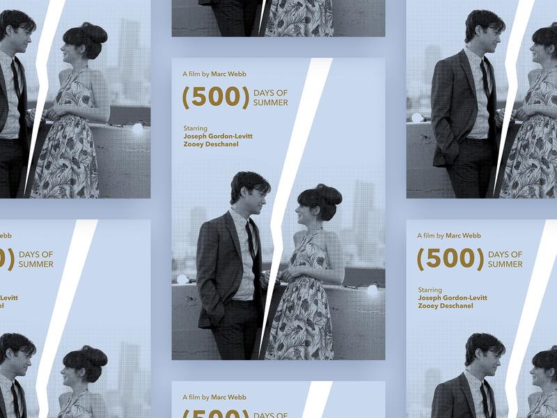 """500 days of summer"" movie poster retro pastel movie dtp print poster graphic design flat design"