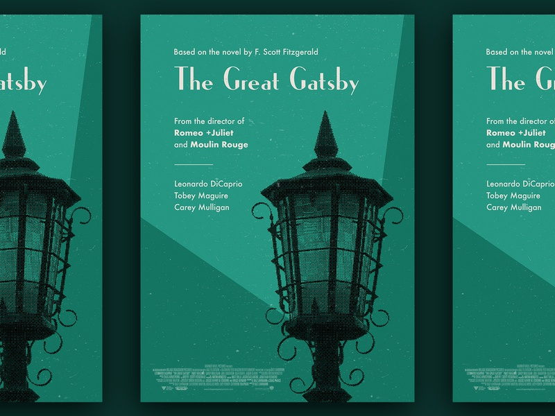 """""""The Great Gatsby"""" movie poster bold colors vivid vintage retro typography print poster graphic design flat design"""