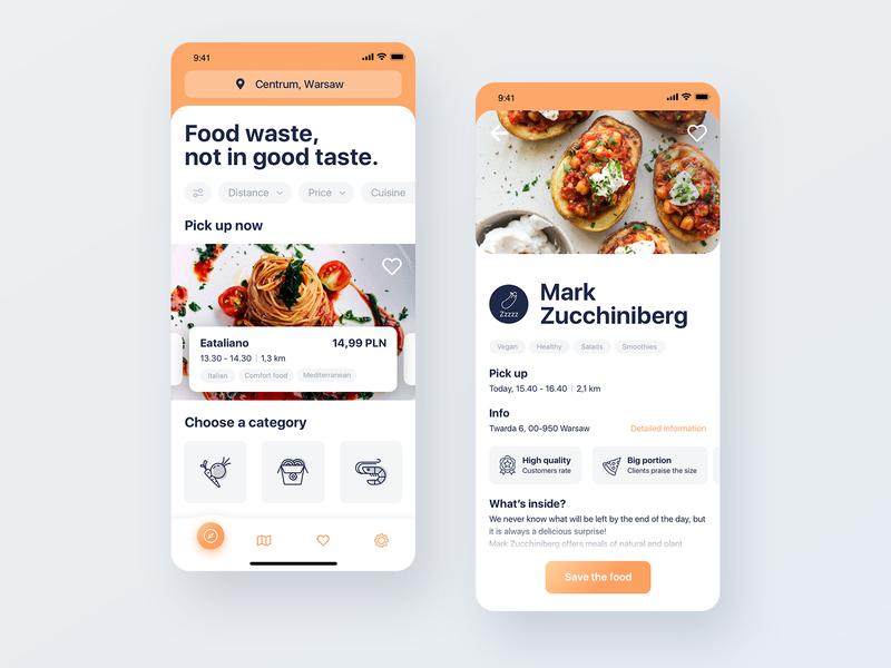 Food saving app ux interface foodtech food app product design mobile ui mobile app ui design